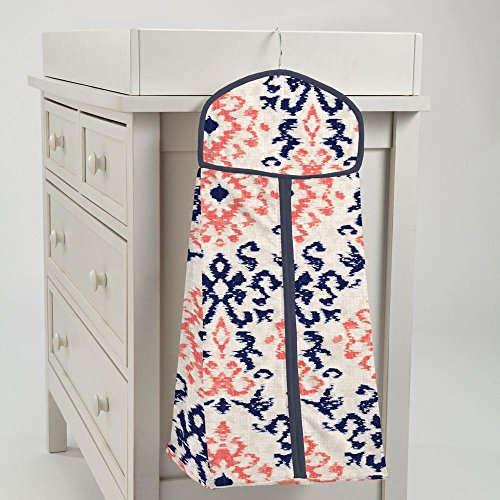 Carousel Designs Navy and Coral Ikat Diaper Stacker by Carousel Designs