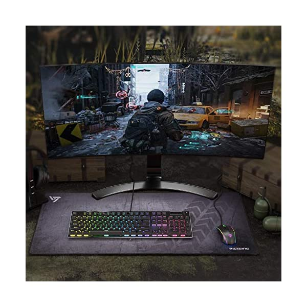 VicTsing [30% Larger] Extended Gaming Mouse Pad with Stitched Edges, Long XXL Mousepad (31.5x15.7In), Desk Pad Keyboard…