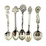 Fairylove Coffee Spoon Teaspoon 5pcs/Set Nostalgic Vintage Royal Style Metal Carved