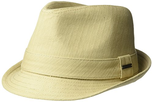 Van Heusen Men's Cotton Herringbone Twill Fedora Hat with Metal Plate Logo, Khaki, M/L (Twill Fedora)