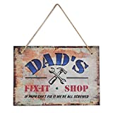 """Father's Day Gifts - PBPBOX Fix-It Shop Sign 10.2"""" x 7 """" Saying """"DAD'S FIX-IT SHOP If papa can't fix it, we are screwed"""""""