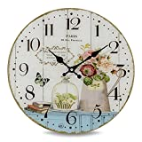 Whole House Worlds The Paris Kitchen Clock,Glass, Antique Vintage Cafe Style, Over 1 Ft In Diameter, Analog Timepiece, Battery Powered, (1 AA Required) By