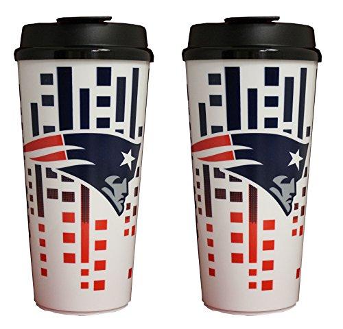 The Memory Company NFL New England Patriots 32oz Single Wall Travel Mug 2 pack