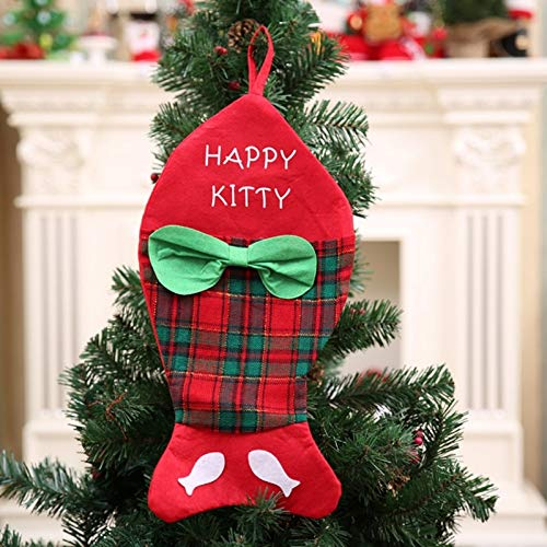 NATTEL Christmas Christmas Stockings Customize Pet Dog Bone Fish Christmas Candy Bag Gift Holder