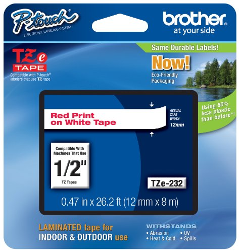 Brother Genuine P-touch Tze-232 Label Tape 1/2 (0.47) Standard Laminated P-touch Tape, Red on White, Laminated for Indoor or Outdoor Use, Water Resistant, 26.2 Feet (8M), Single-Pack (TZe232)