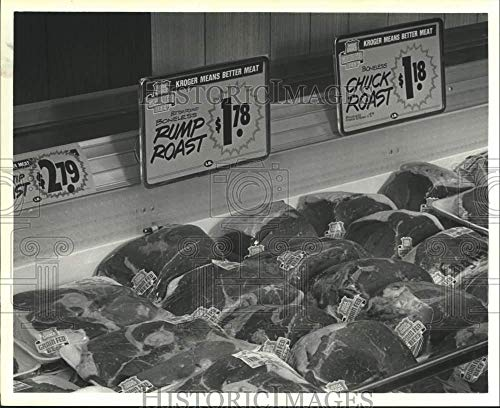 1985 Press Photo Meat Prices At Krogers Supermarket In Houston - hca56107