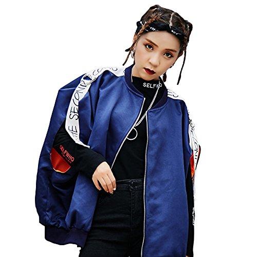解決一般的に言えばギャラリー(habille)レディース フライトジャケット風 メンズライク ベスト 袖なし ストリート HIPHOP ダンサー おまけ付(ブルー)