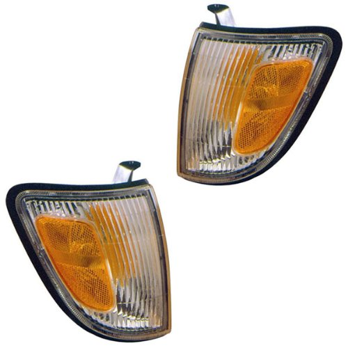 1997-2000 Toyota Tacoma 2WD Truck (excluding PreRunner & Stepside Models) Corner Park Lamp Turn Signal Marker Light Set Pair Left Driver AND Right Passenger Side (1997 97 1998 98 1999 99 2000 00) (Parts Truck Prerunner)