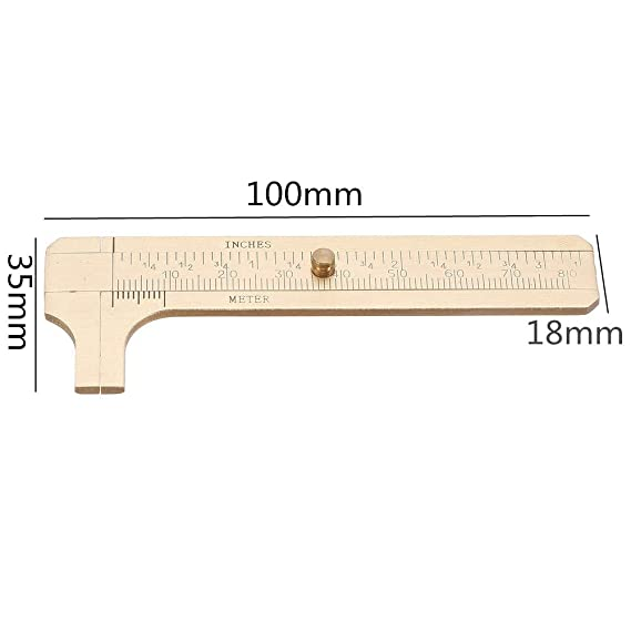 Portable Vernier Caliper Measuring Tool Portable Solid Copper Vernier Caliper 0-80mm Caliper Ruler for Archaeology ruler gauge 80mm Vernier Caliper