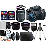 Canon EOS Rebel T5i 18.0 MP CMOS Digital Camera SLR Kit With Canon EF-S 18-55mm IS STM Lens + Wide-Angle Lens + Telephoto Lens + 8GB and 16GB Card + Card Reader + Case + Battery + Flash + Tripod + Remote + 58mm Filter Kit - 24GB Deluxe Accessories Bundle
