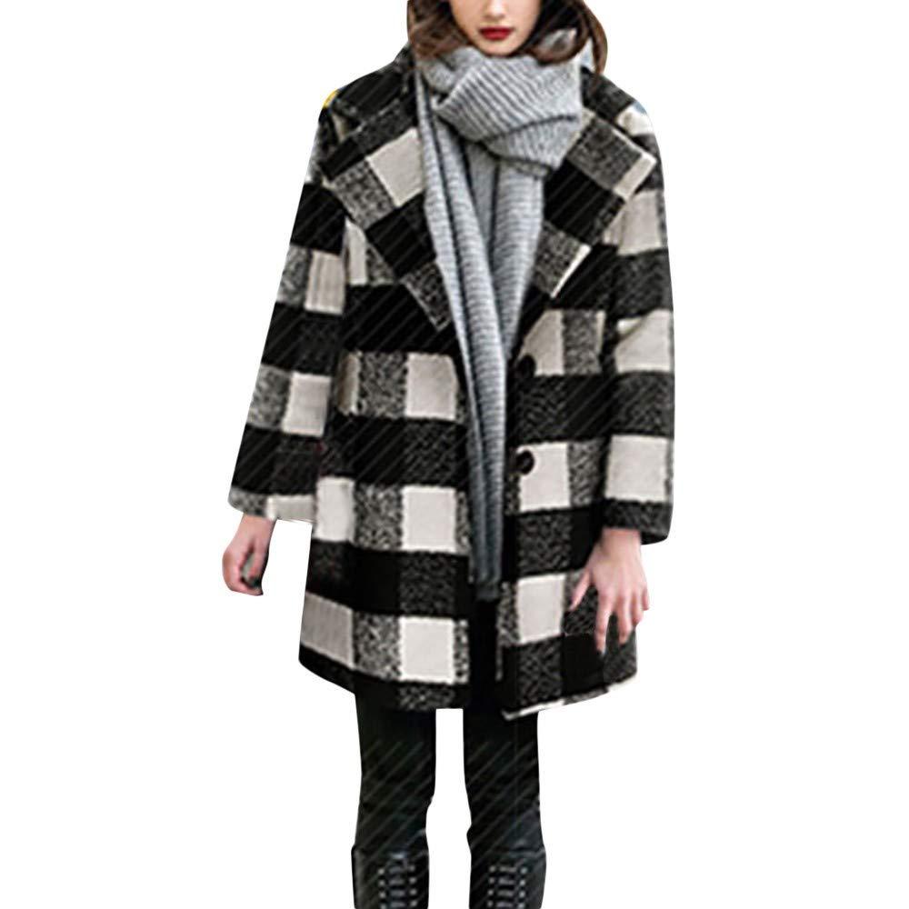 FIRSS Damen Kariertes Trenchcoat Winter Mantel Knopf Taschen Strick Strickjacken Lange Outcoat Warme Dicker Jacke Übergröße Mode Elegante Oberbekleidung