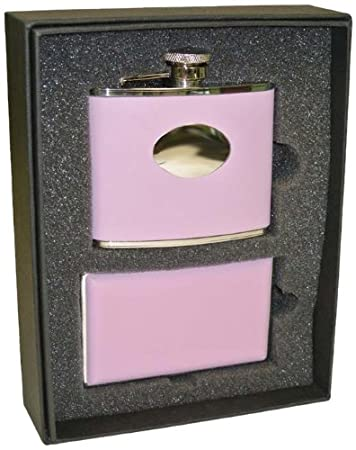 Pink 4-Ounce VisolCandy Leather Flask Gift Set