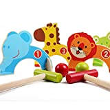 ElementDigital Wood Croquet Set 2 Bats 2 Balls Kids Golf Toy Wooden Cartoon Doorways Croquet Ball Kids Ball Games Children's Toy Golf Ball Home Games Early Teaching Puzzle Xmas Gift