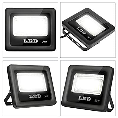 Telaso 20W LED Flood Light, 2 Packs IP66 Waterproof, 1800Lm Outdoor Super Bright Security Lights, 6000K Daylight White, 160W Equivalent, 120 Beam Angle Backyard Lights for Party, Garden, Lawn, Yard