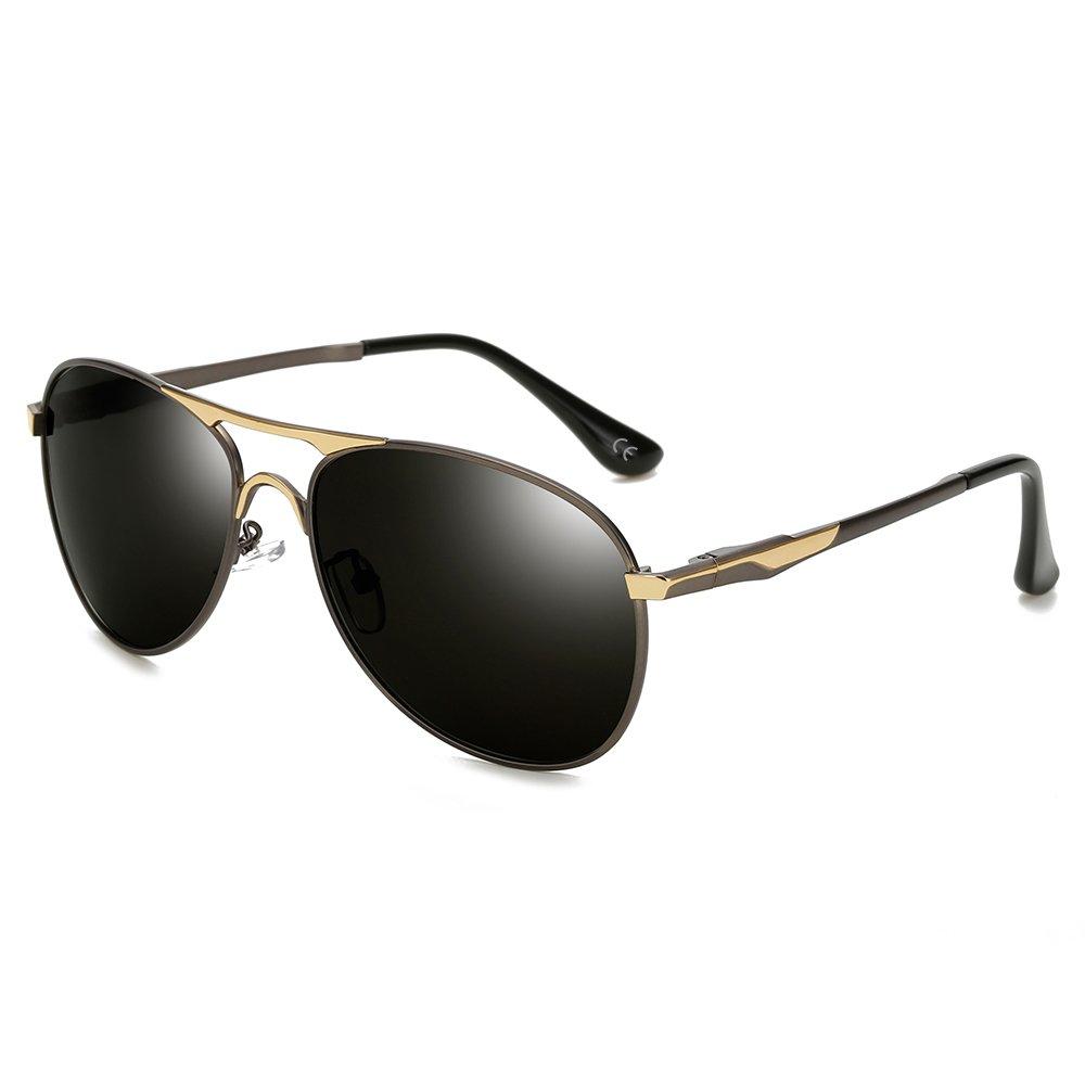 BVAGSS Vintage Hombres Piloto Polarizado Gafas De Sol Marco De Metal (Gun Color Frame With Gray Lens): Amazon.es: Ropa y accesorios