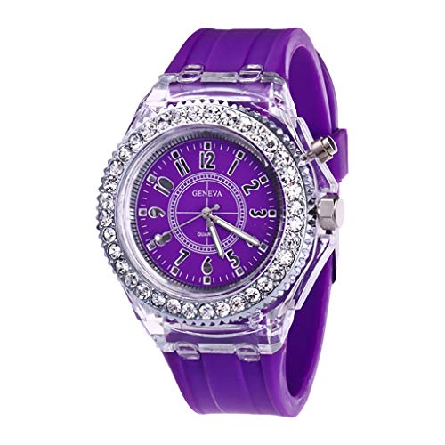 (Neutral Quartz Luminous Watch for Womens Personality Transparent Wristwatch Child Teacher Teen Young Girls by WoCoo(Purple,Free Size))