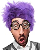 Purple Fear Costume Wig and Glasses Set Fear Wig Costume for Adults Kids