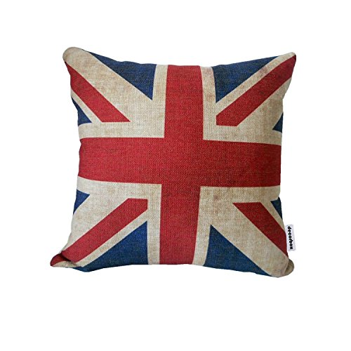 (Decorbox The Union Jack British Flag Cotton Linen Square Decorative Throw Pillow Case Cushion Cover 18