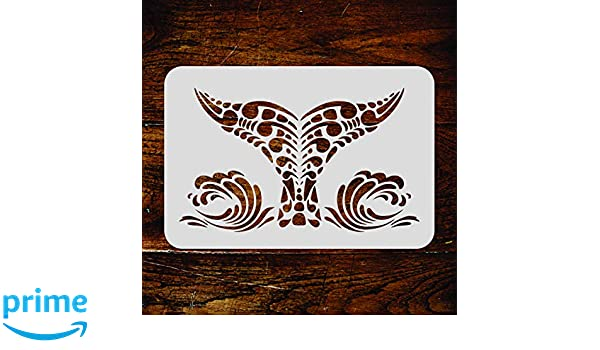 38b656f67 Whale Tail Stencil - 5 x 3 inch (S) - Reusable Tribal Ethnic Maori Orca  Blue Whale Wall Stencil Template - Use on Paper Projects Scrapbook Journal  Walls ...