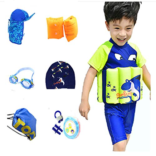 rumiao Collections UV (SPF50+) Toddler Sun Protection Float Swimsuit with Adjustable Buoyancy for Boys and Girls Suit,Darkblue-XXL