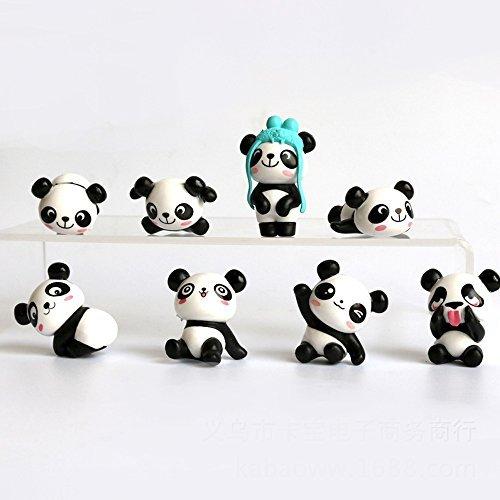 (8 pcs (1 set) Cute Panda Toys Figurines Playset, Cake Decoration)