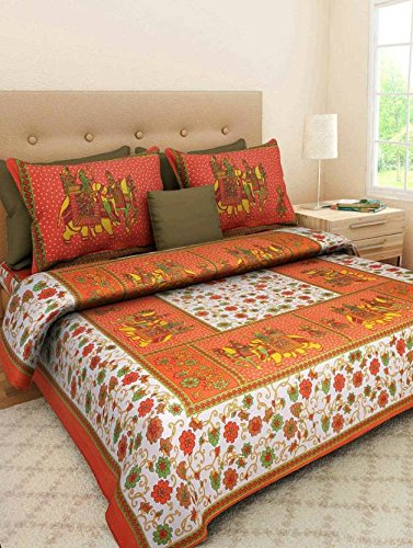 4a33afe8fe Buy JAIPUR PRINTS Rajasthani jaipuri traditional Double Bedsheets 100% Cotton  Printed Multi Color (1 double Bed sheet with 2 pillow cover) Online at Low  ...