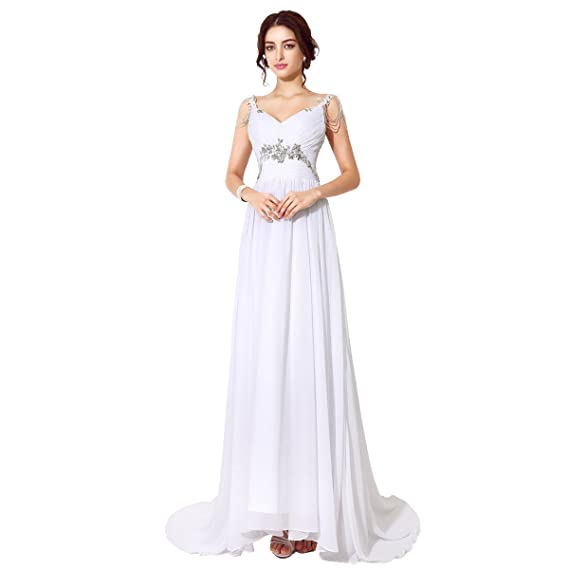 Sarahbridal Womens V-neck Chiffon Evening Dresses Formal Party Gowns with beading straps SSD200 White