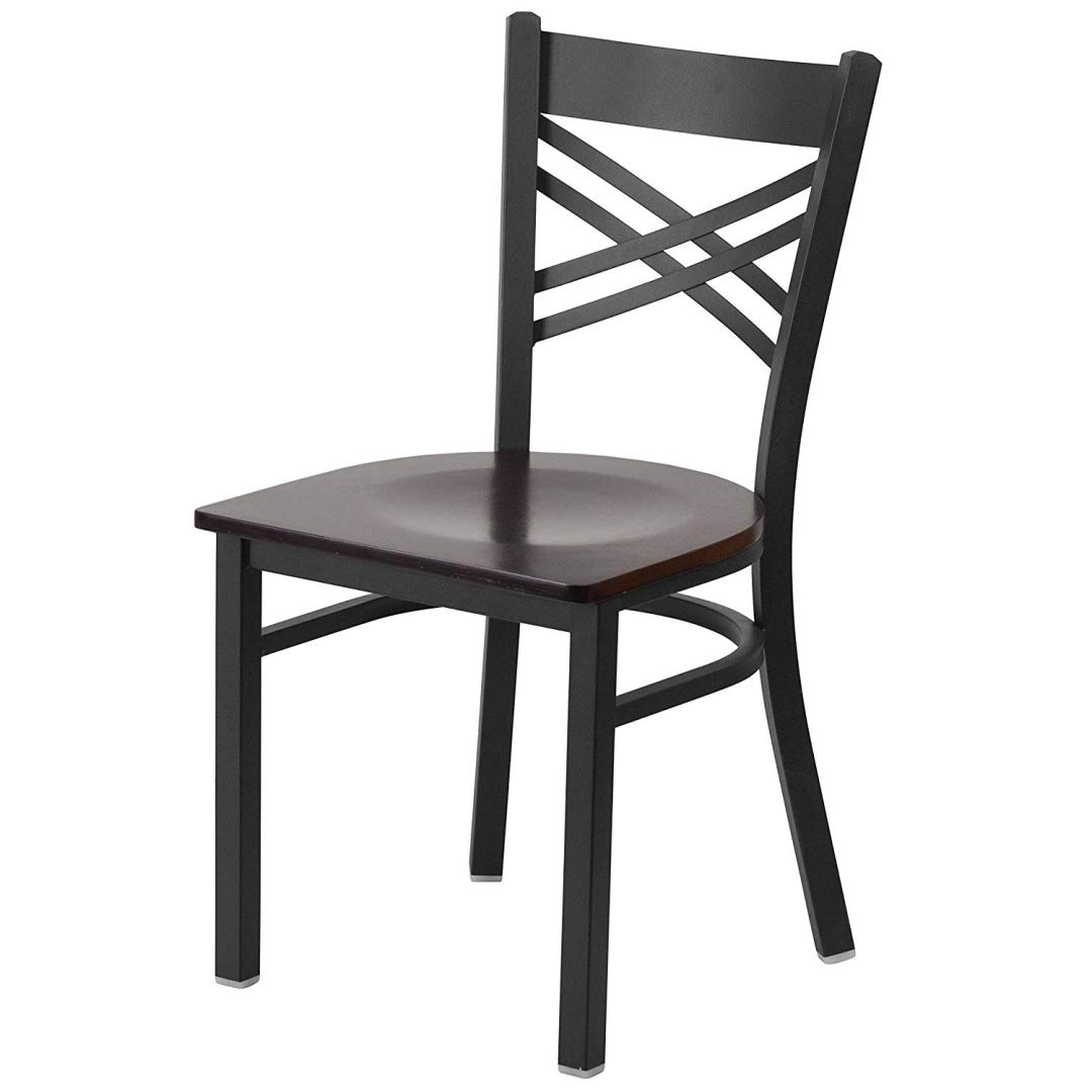 Modern Style Metal Dining Chairs School Bar Restaurant Commercial Seats X-Back Design Black Powder Coated Frame Finish Home Office Furniture - (1) Walnut Wood Seat #2155