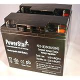 PowerStar PS12-18-2Pack-01 2 Pack 12V 18Ah Battery For Black & Decker Cmm1200 Mower Replaces 24V Battery