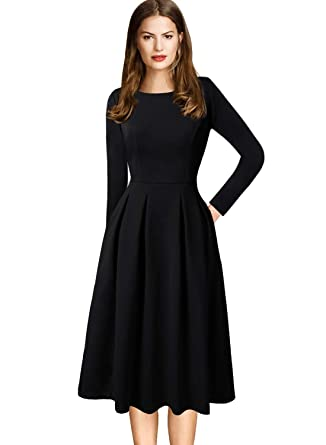 VFSHOW Womens Vintage Pleated Pockets Work Business Casual Skater A-Line  Dress  Amazon.co.uk  Clothing 42911ef72