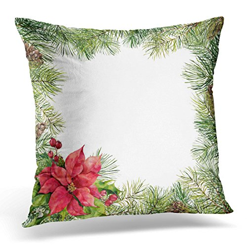 - Emvency Throw Pillow Covers Watercolor Christmas Floral with Poinsettia Hand Tree Branch Pine Cone Holly Mistletoe and Barry White Decorative Pillow Case Home Decor Square 20
