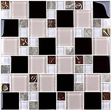 Hyh 8mm Thickness Electroplated Glass Mesh Mounted Mosaic Tile Sheet For Kitchen Backsplash Bathroom Wall And Swimming Pool 12 In X 12 In D0434b1 Lot Of 5 Sheets Amazon Com