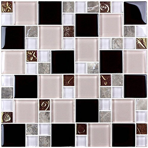 HYH 8mm Thickness Electroplated Glass Mesh-mounted Mosaic Tile Sheet for Kitchen Backsplash Bathroom Wall and Swimming Pool 12 In. X 12 In.(D0434B1) Lot of 5 Sheets by HYH (Image #4)
