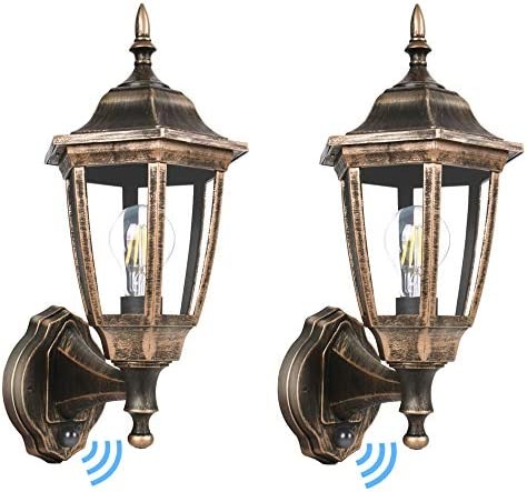 FUDESY 2-Pack Dusk to Dawn Sensor Outdoor Wall Lanterns, Exterior Wall Sconce Porch Light Fixture with 3000K LED Edison Filament Bulb Included, Anti Corrosion Plastic Materials, Bronze, FDS2542EPSG