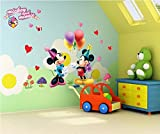 Jaamso Royals 'Happy Mickey and Minnie Cartoon' Wall Sticker (Vinyl, 46 cm x 5.1 cm x 5.1 cm)