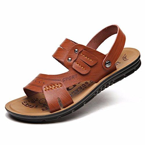 Das neue Sommer Männer Schuh Strand Schuh Faser Echtleder Männer Freizeit Mode Trend Jugend Naht Echtleder Sandalen ,braun ,US=10,UK=9.5,EU=44,CN=46