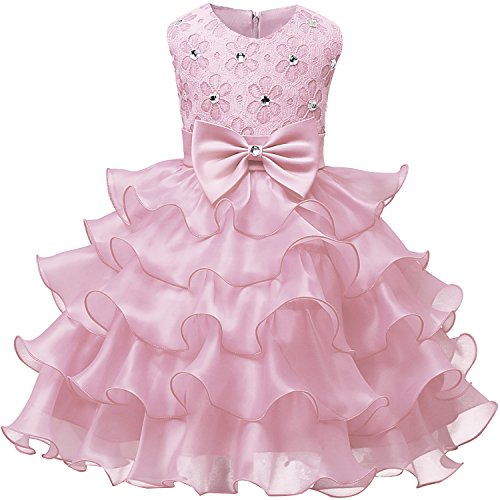 NNJXD Girl Dress Kids Ruffles Lace Party Wedding Dresses Size (140) 6-7 Years Pink for $<!--$18.49-->