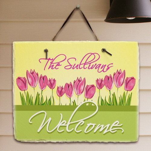 (Spring Tulips Personalized Welcome Plaque, 11.5
