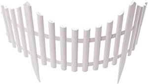 Jroyseter 12Pcs White Plastic Garden Fencing Set with Splicable Detachable Design Pointed Stakes Flexible Garden Picket Fence Panels for Gardens Courtyards Farms Outdoor Decoration Fence Border
