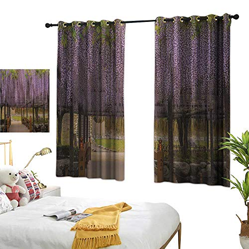 Warm Family Light Luxury high-end Curtains Japanese Decor Collection Dreamy Lilac Flowers Hanging Down from Terrace Top to Bottom Field Paradise Scenery Noise Reducing 55