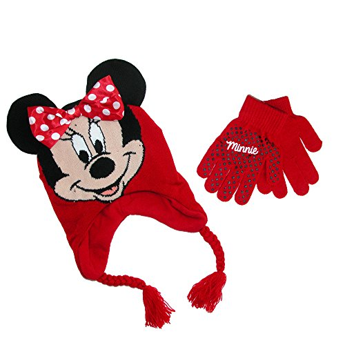 Disney Girls' Minnie Mouse Red Scandinavian Hat and Gloves Set – Size 4-14 [4014]
