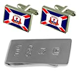 Aracruz City Espirito Santo State Flag Cufflinks & James Bond Money Clip