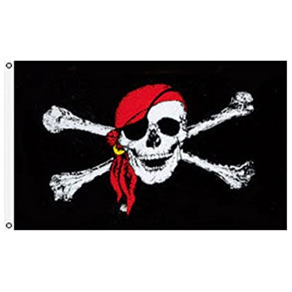 "PIRATE SKULL WITH BANDANA TABLE FLAG 6/"" X 4/"" Jolly Roger crossbones pirates"