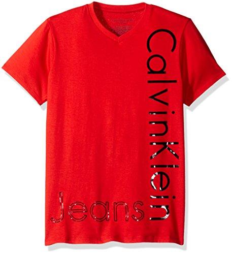 Calvin Klein Big Boys' New Icon V-Neck Tee Shirt, Fireside, Large (14/16)