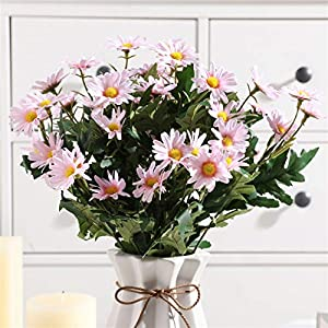 Gumolutin 2 PCS Artificial Silk Daisy Flower Bouquet for Home Table Centerpieces Arrangement Decoration 117