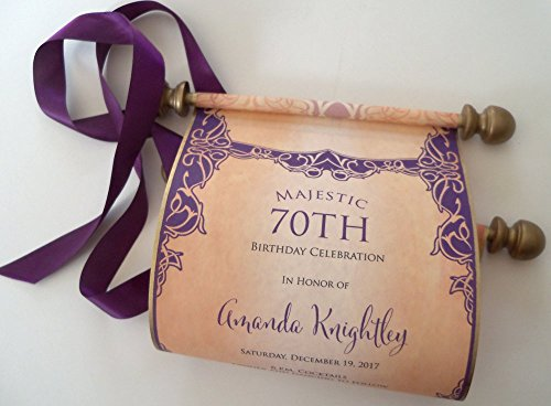 - Birthday invitation paper scrolls with wooden finials, elegant eggplant and aged gold, set of 10