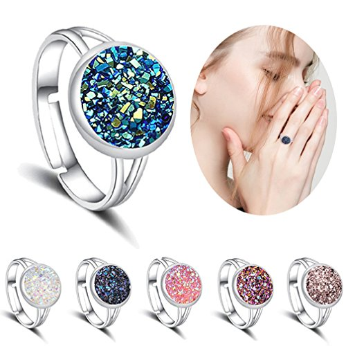 LOLIAS 6 Pcs Natural Druzy Stone Rings for Women Boho Adjustable Ring