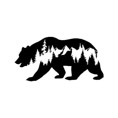 CCI Bear Mountains Adventure Wanderlust Decal Vinyl Sticker|Cars Trucks Vans Walls Laptop|Black |7.5 x 3.75 in|CCI1838: Automotive