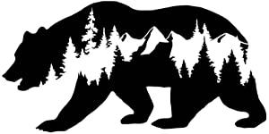 CCI Bear Mountains Adventure Wanderlust Decal Vinyl Sticker|Cars Trucks Vans Walls Laptop|Black |7.5 x 3.75 in|CCI1838
