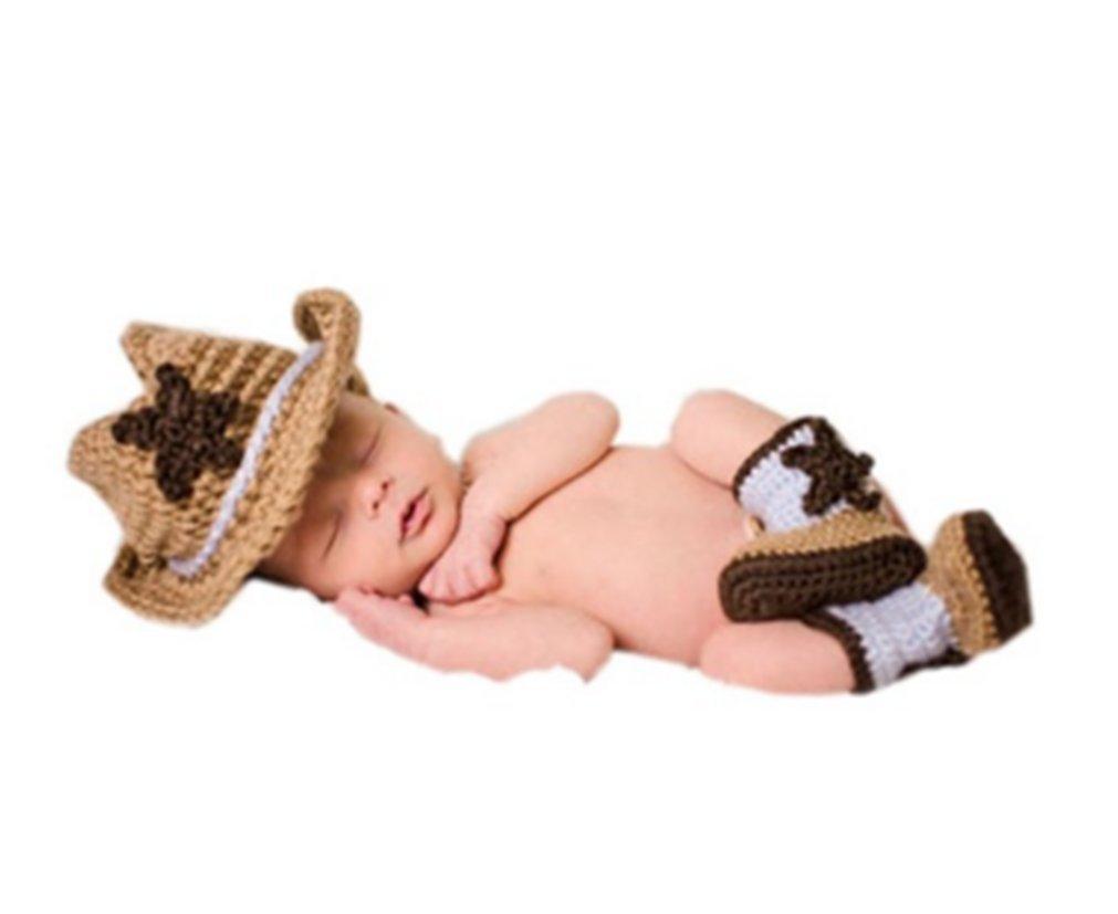 Shinystar Baby Handmade Crochet Knit Cowboy Hat Boots Photography Prop Costume Set (Style 4)